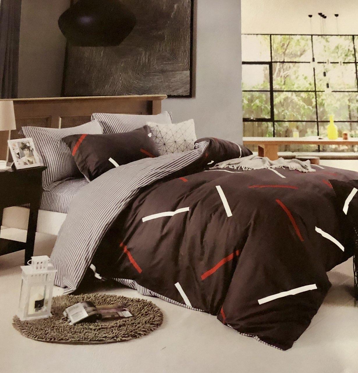 Комплект постельное белье, 100% хлопок, двухцветное, 180×220 двушка