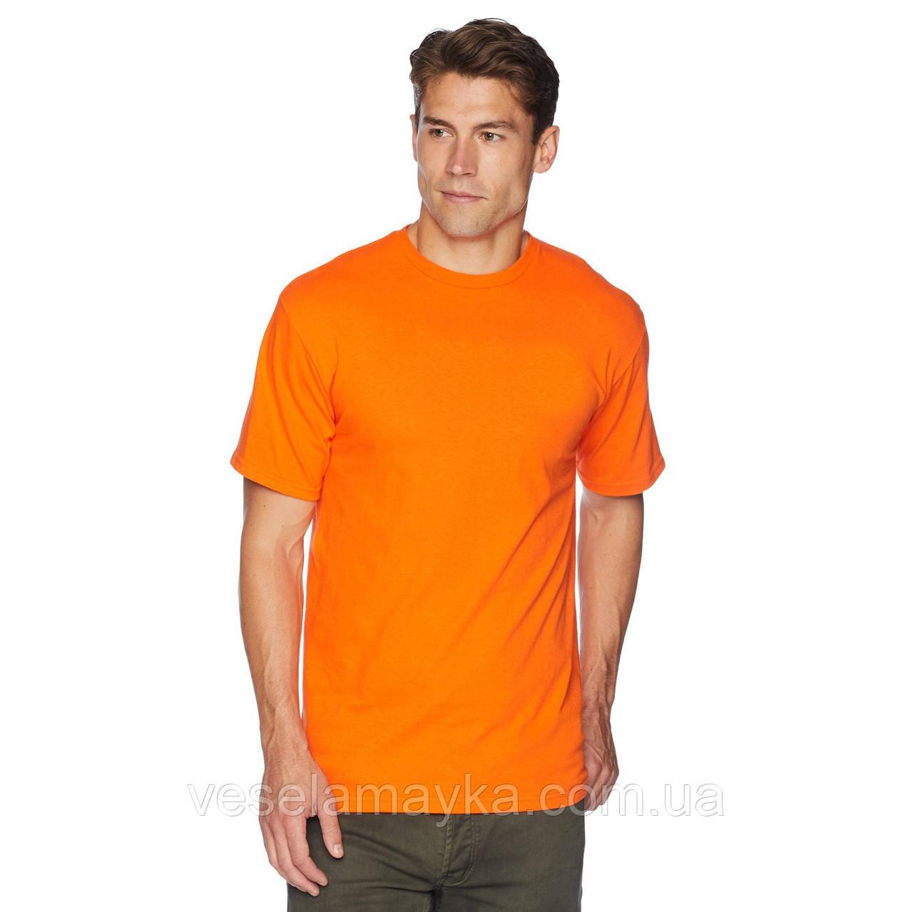 Уплотненная оранжевая мужская футболка (Премиум)