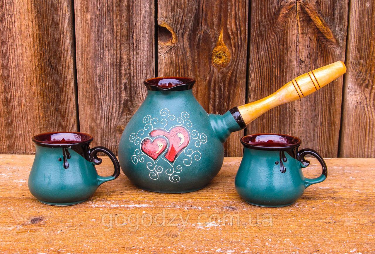 Набір кавовий крапля 500 мл. декор Серце зелений