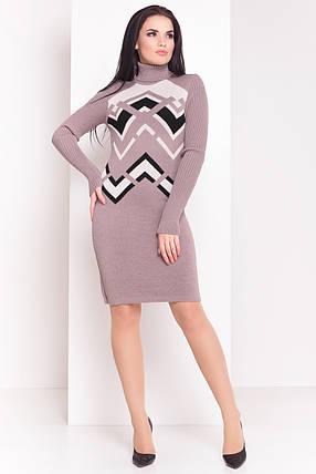 Вязаное платье по колено Злата бежевое, фото 2