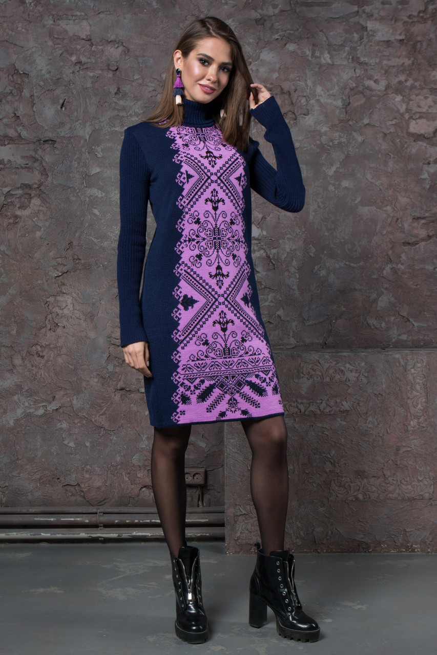 Жіноча сукня Ольга (синій, бузковий)