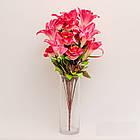 Букет розы с лилией NB-142/18 (7 шт./уп.) Искусственные цветы оптом, фото 6