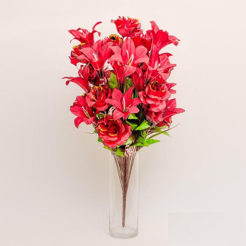 Букет розы с лилией NB-142/18 (7 шт./уп.) Искусственные цветы оптом