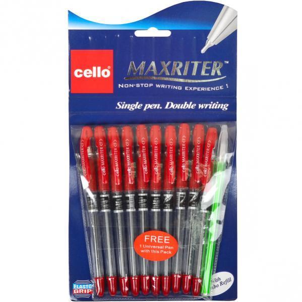 Ручка масляная MAXRITER Cello красная 1 упаковка (10 штук)