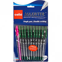 Ручка масляная MAXRITER Cello зеленая  1 упаковка (10 штук)