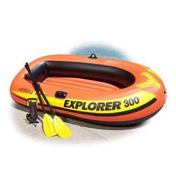 Двухместная надувная лодка Intex 58332 Explorer 300 Set, 211 х 117 х 41 см,с веслами и насосом