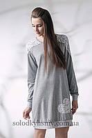 Сорочка нічна ELLEN Біле Мереживо на сірому меланжі довгий рукав 087 001 119d72b183a78