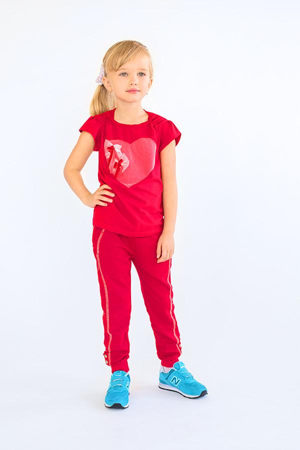 Брюки для девочек спортивные (красные) 3-8 лет