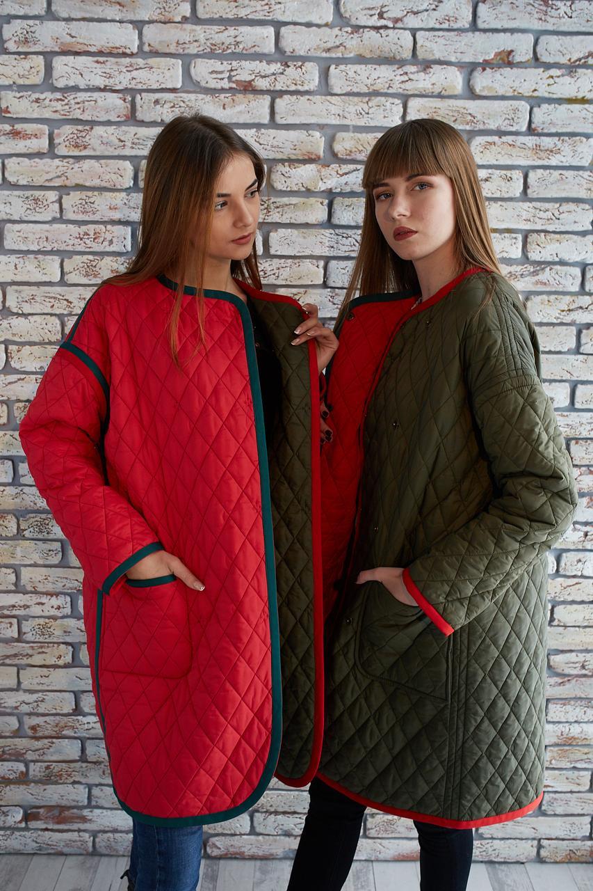 Стегане двостороннє пальто демісезон, S-M