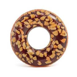 Надувной круг для плавания Intex 56262 «Шоколадно-ореховый пончик», 114 см