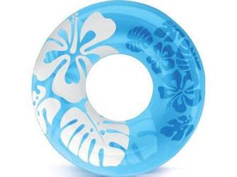Надувной круг для плавания Intex 59251 с цветами «Перламутр», голубой, 91 см