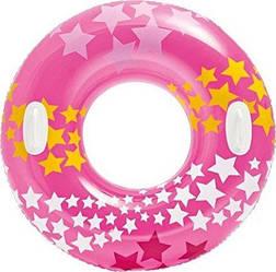 Надувной круг для плавания Intex 59256 «Звезды», розовый, 91 см, с держателями для рук
