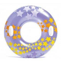 Надувной круг для плавания Intex 59256 «Звезды», фиолетовый, 91 см, с держателями для рук