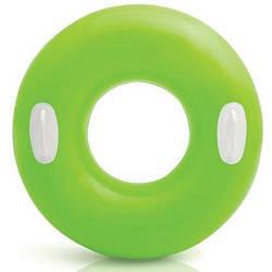 Надувной круг для плавания Intex 59258, 76 см, зеленый, с держателями для рук