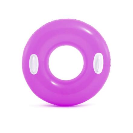 Надувной круг для плавания Intex 59258, 76 см, розовый, с держателями для рук
