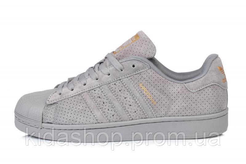 8141166ea Мужские кроссовки Adidas Superstar Suede Soft Grey M - Kidashop -  интернет-магазин брендовых кроссовок