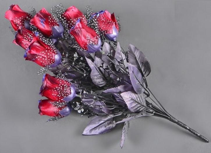 Букет темная роза NM-46/12 (12 шт./ уп.) Искусственные цветы оптом
