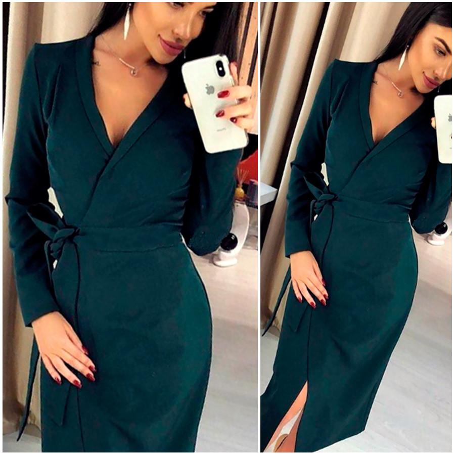 Изумрудное платье-халат Janett (Код MF-413)