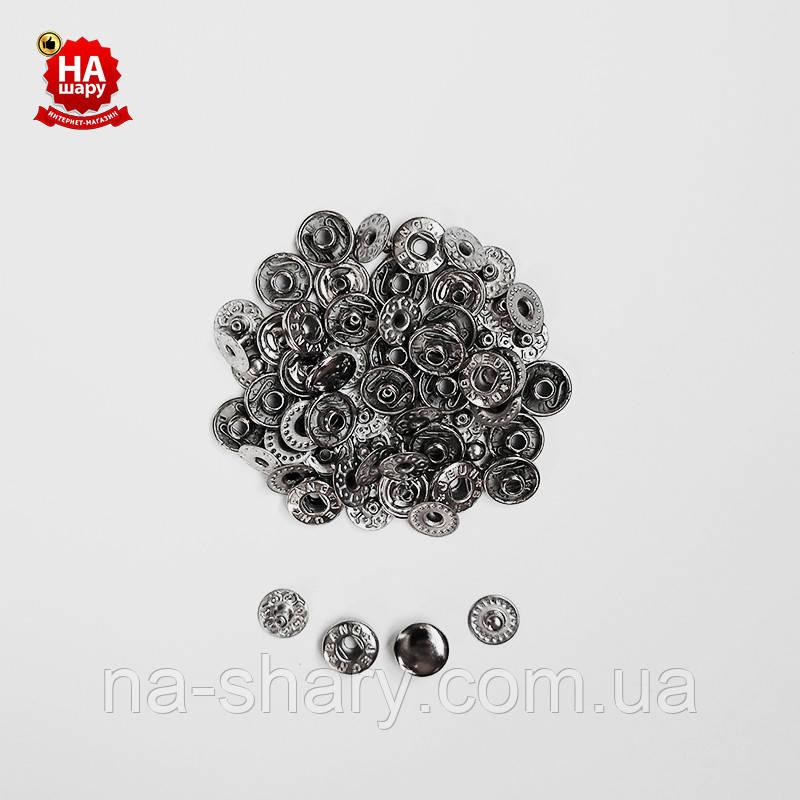 Кнопки для одежды Альфа 10мм. Кнопки для кошельков. VT-2, Черный никель (100шт)