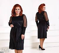 Красивое нарядное платье женское бархат+сетка 50-56 размеров Турция, 2 цвета