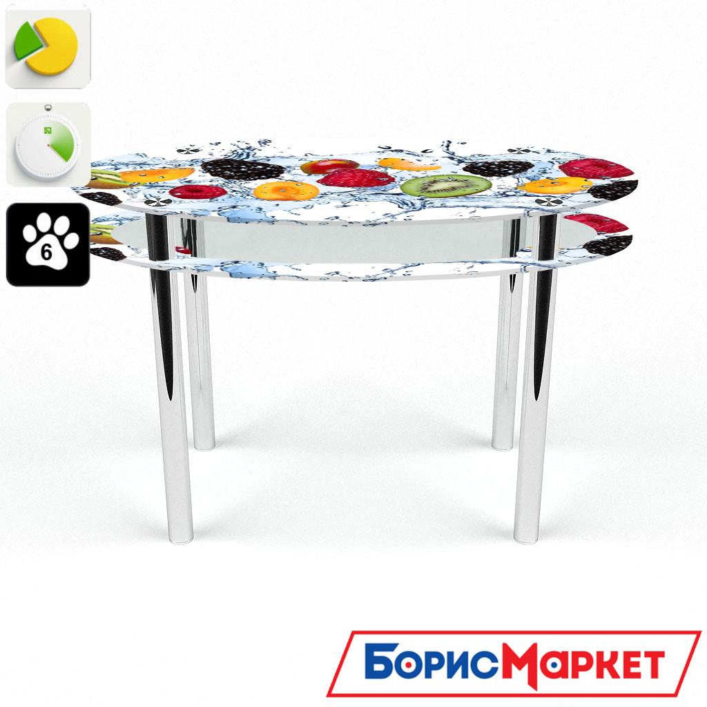 Обеденный стол стеклянный (фотопечать) Овальный с проходящей полкой Berry Mix от БЦ-Стол