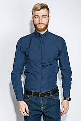 Рубашка мужская однотонная 333F007 (Синий)