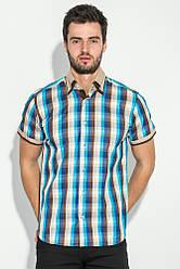 Рубашка мужская принт разноцветная клетка 50P011 (Бежево-коричневый)