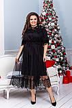 Нарядное платье женское  Креп костюмка и евро сетка Размер 48 50 52 54 56 58 60 62 64 В наличии 3 цвета, фото 2