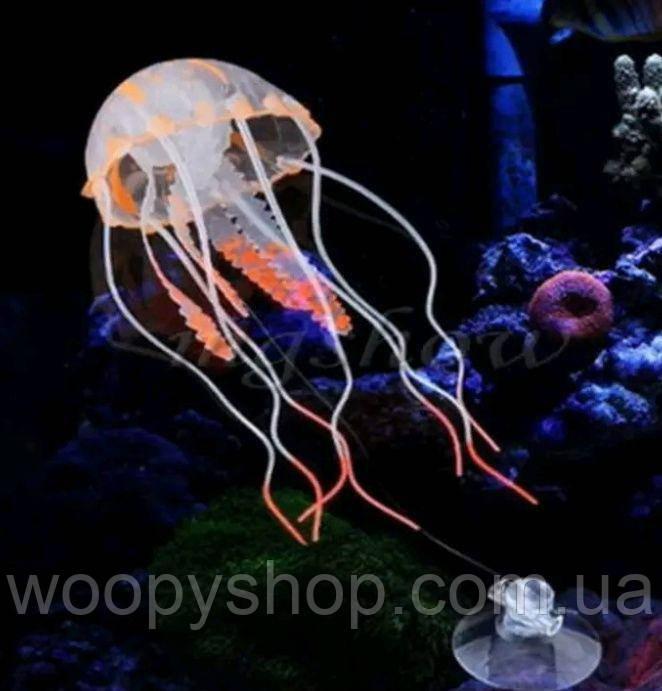 Медуза силиконовая оранжевая для аквариума на присоске