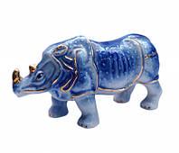 """Статуэтка """"Носорог"""" фаянс синий (12,5х4,5х6,5 см)"""