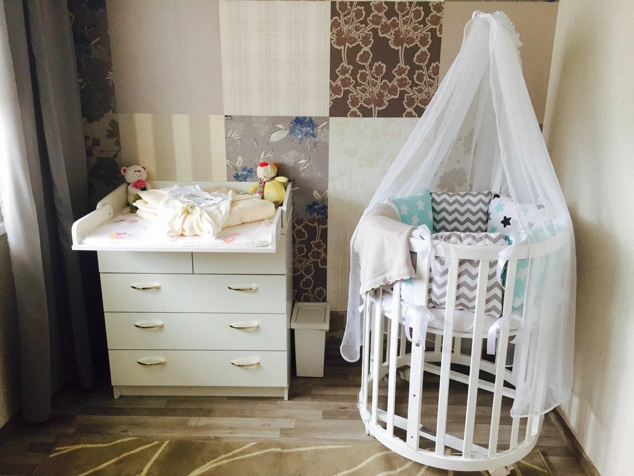 Комплект детского постельного и бортики для круглой кроватки (состав в описании)