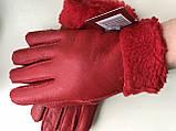 Женские перчатки из натуральной овчины  цвет красный, фото 2
