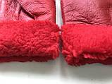 Женские перчатки из натуральной овчины  цвет красный, фото 3