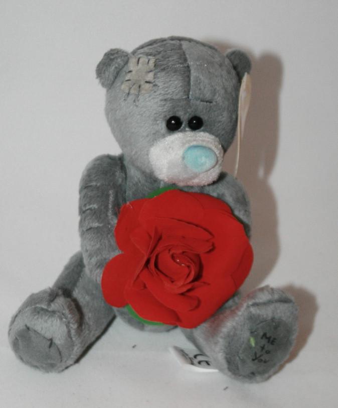 """Игрушка мягкая """"Медведь Тедди с цветком"""" 14см"""