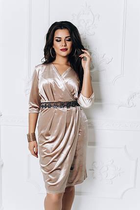 """Нарядное бархатное платье """"Амели"""" с имитацией запаха (большие размеры), фото 2"""