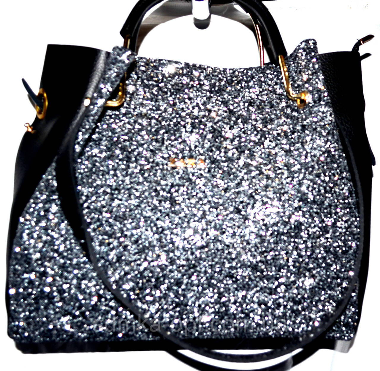 e38ded58d64c Женские брендовые сумки 2-в-1 Zara (серебро блестки)30*32см, цена ...