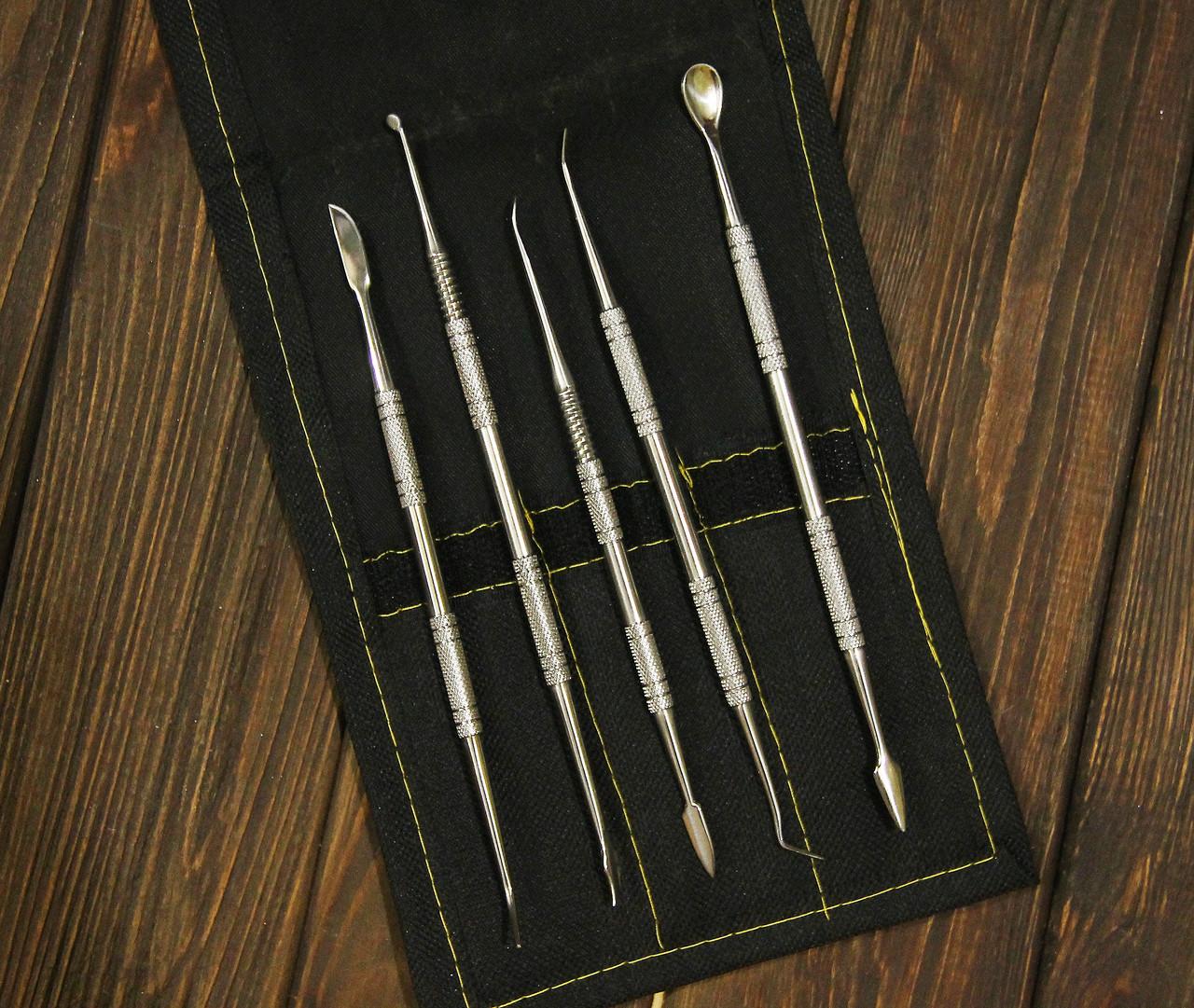 Набор инструментов для тонкой лепки с чехлом, металлические двусторонние стеки, 5шт.