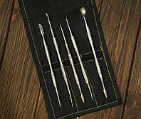 Набор инструментов для тонкой лепки с чехлом, металлические двусторонние стеки, 5шт., фото 1