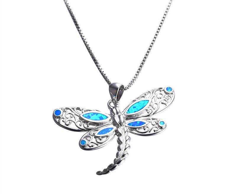 Серебряная цепочка со стрекозой с камнями Опал