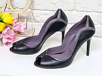 08600115fb82 Шикарные классические туфли с открытым носиком из натуральной кожи черного  и грязно-сиреневого цвета