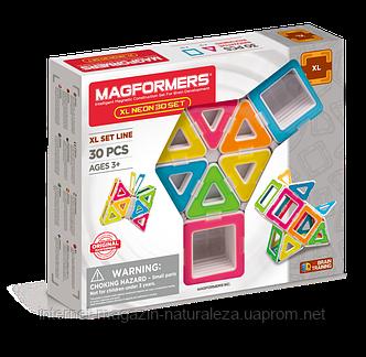 Магнітний конструктор Magformers Neon XL 30 елементів, фото 2