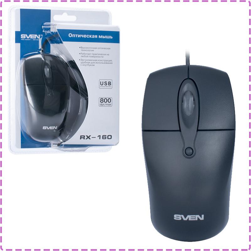 Мышь SVEN RX-160 (black) OPTiC, USB, 1 Wheel, 800cpi, мышка