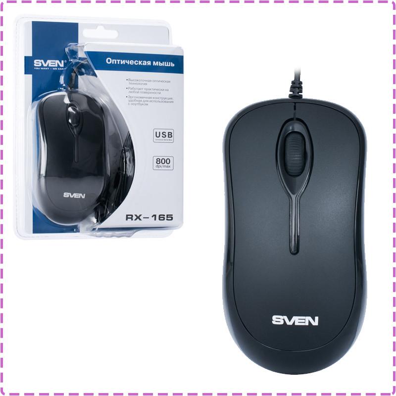 Мышь SVEN RX-165 (black) OPTiC, USB, 1 Wheel, 800cpi, мышка