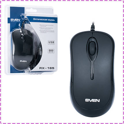 Мышь SVEN RX-165 (black) OPTiC, USB, 1 Wheel, 800cpi, мышка, фото 2