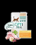 Optimeal пауч с кроликом в белом соусе консервы для кошек 85г*12шт