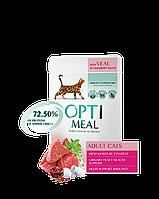 Optimeal пауч с телятиной в клюквенном соусе консервы для кошек 85г