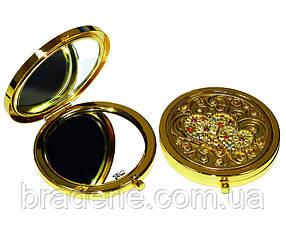 Зеркальце косметическое дамское в подарочной коробочке E70G золото