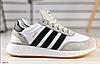 Кроссовки ADIDAS серые с белыми и черными вставк