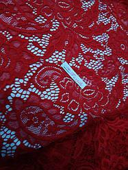 Ткань гипюр стрейчевый розы (красный)