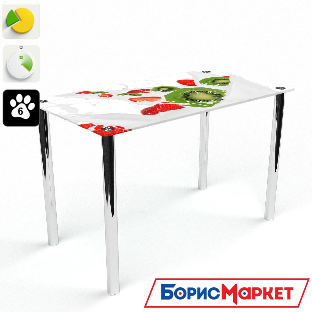 Обеденный стол стеклянный (фотопечать) Прямоугольный Fruit&Milk от БЦ-Стол